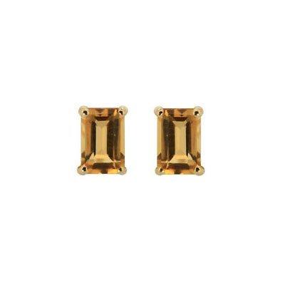 Genuine 3.20 cts 8x6mm Citrine Emerald Cut Stud Earrin