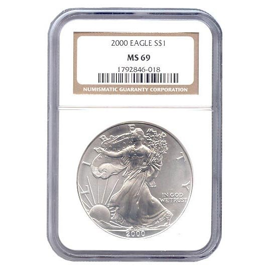 Certified Uncirculated Silver Eagle 2000 MS69