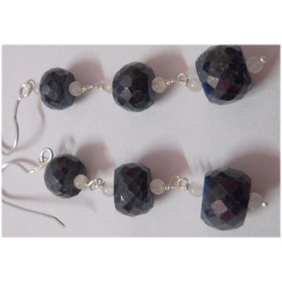 Natural 57.10ct Sapphire Earring .925 Sterling