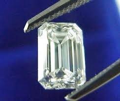 EGL CERT 0.61 CTW EMEARLD CUT DIAMOND F/SI1