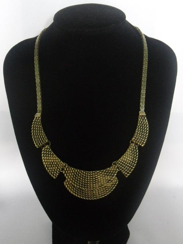 300CTW 5-SLAB LYRD CHAIN BRASS NECKLACE