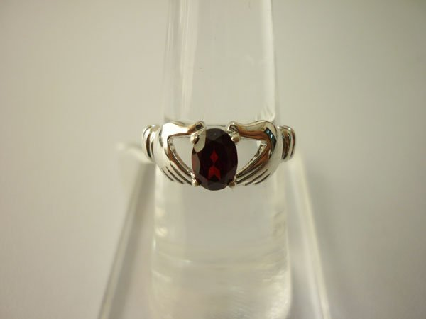 14.00 CTW GARNET RING .925 STERLING SILVER