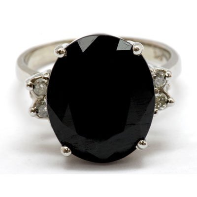 Genuine 9.54 ctw Dark Blue Sapphire Diamond Ring 10k
