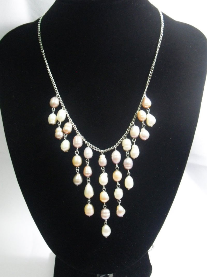 150CTW TRICOLOR PEARL CHANDELIER NECKLACE; AUTHENTIC PH