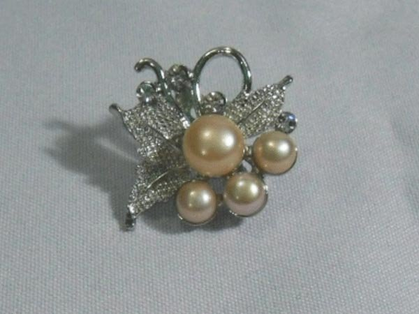 LUXURIOUS PEACH PEARL CZ BROOCH AUTHENTIC PHILIPPINE PE