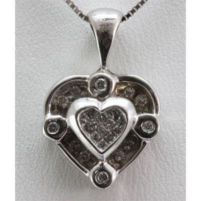 Genuine 0.44 ctw Round Cut Diamond Heart Pendant 10k