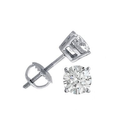 1.00 ctw Round cut Diamond Stud Earrings G-H, SI-2