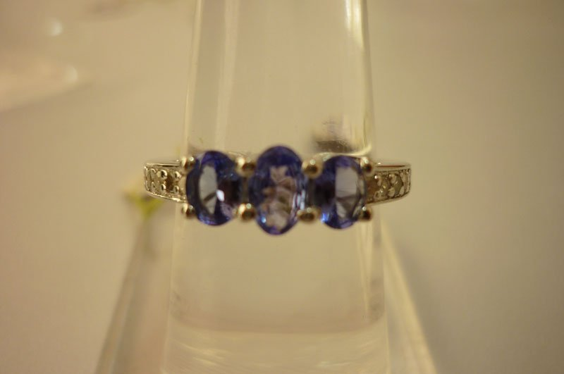 16.50 ctw Tanzanite and Diamond Ring .925 Sterling Silv
