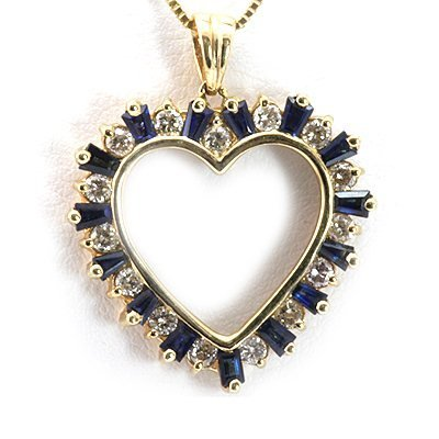 Genuine 0.35ctw Diamond Blue Saphire Heart Necklace 14K