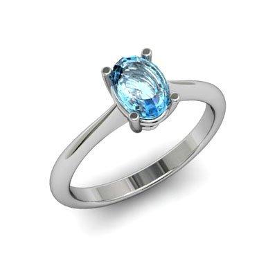 Genuine 1.10 ctw Aqua Marine Ring 14k W/Y Gold