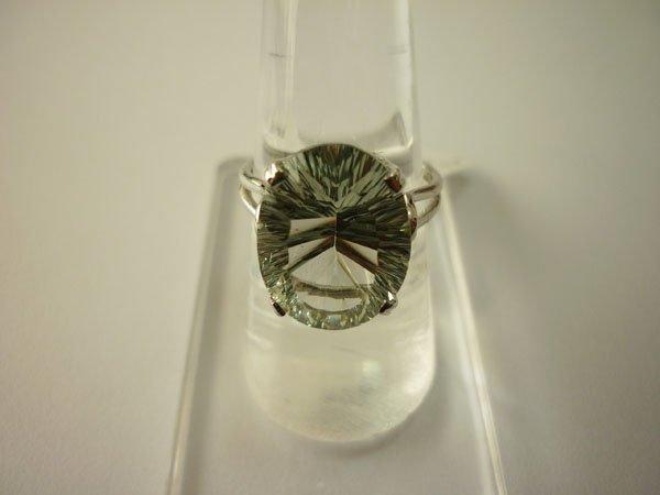 19.50 CTW GREEN AMETHYST RING .925 STERLING SILVER