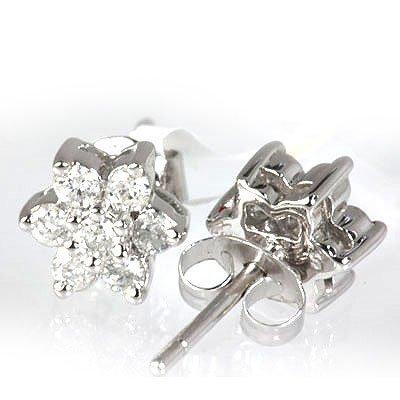 Genuine 0.43 ctw Flower Design Diamond Earring 14kt