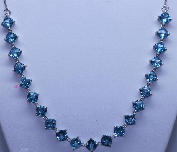 110.65 CTW BLUE TOPAZ NECKLACE .925 STERLING SILVER