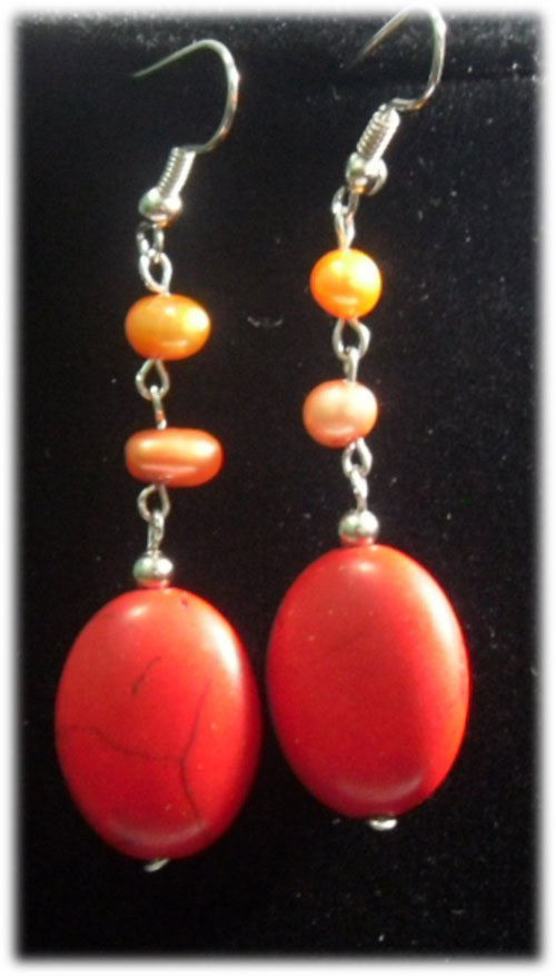RED TURQUOISE AND MULTICOLOR PEARL DANGLING EARRINGS;AU