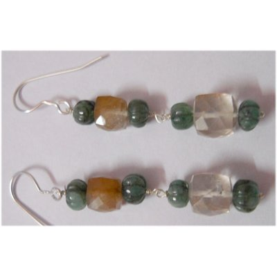 Natural 33.85ct Emerald/Semi Precious Earring .925 Ster