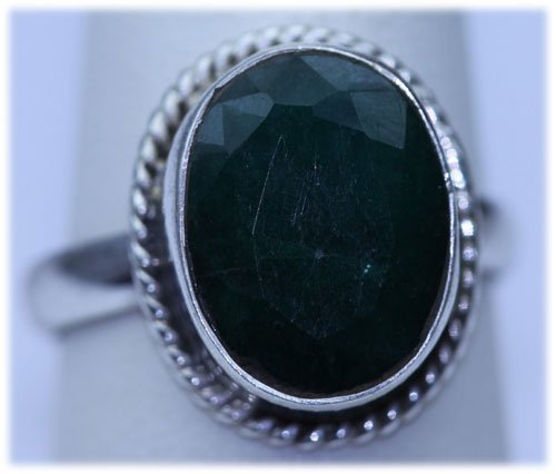 25.90 CTW EMERALD  RING .925 STERLING SILVER
