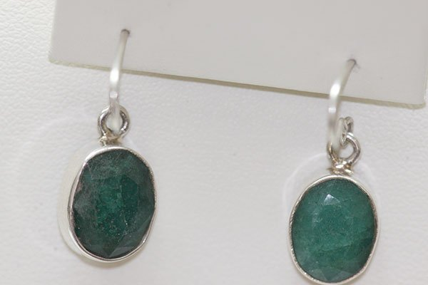 19.71 CTW EMERALD EARINGS .925 STERLING SILVER