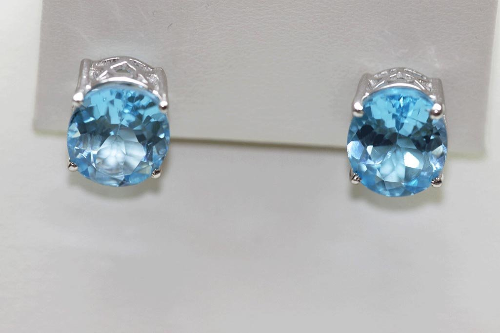 23.05 CTW BLUE TOPAZ EARINGS .925 STERLING SILVER