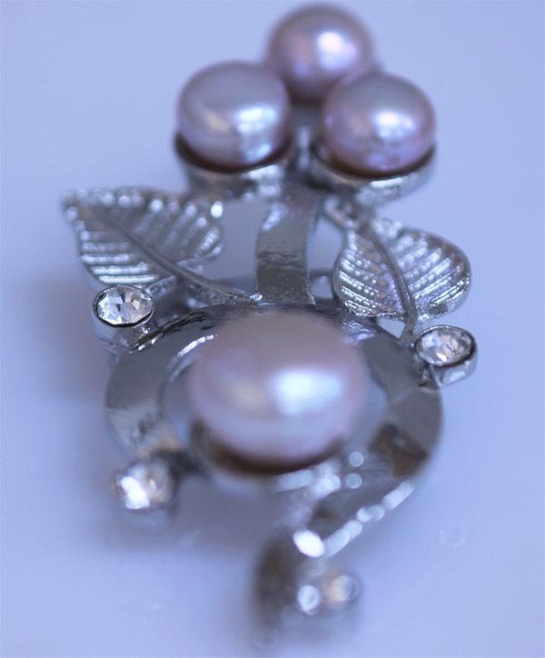 PURPLE PEARL AND CZ BROOCH