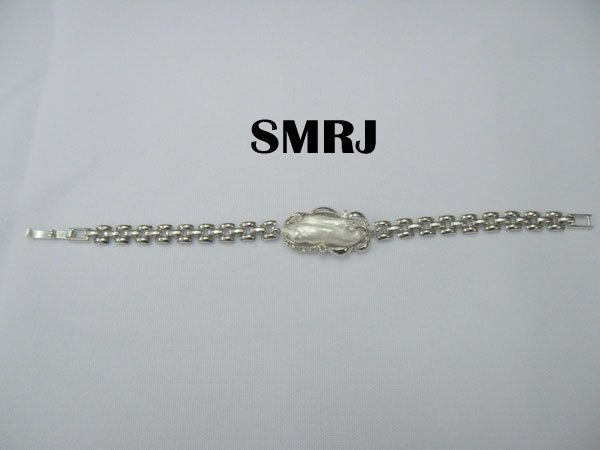 WHITE KISHI ELONGATED PEARL SILVER BRACELET *** METAL: