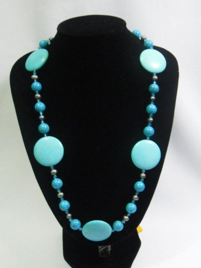 700CTW BLUE TURQUOISE AND BLACK PEARL NECKLACE;AUTHENTI
