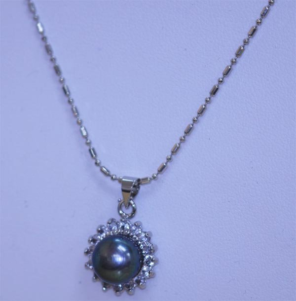 BLACK PEARL AND CZ NECKLACE