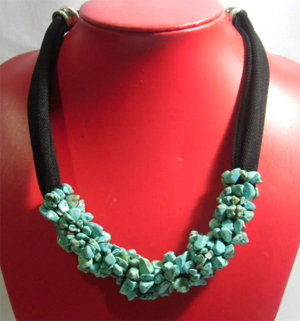 BLUE TURQUOISE 375.00CTW SCARF NECKLACE