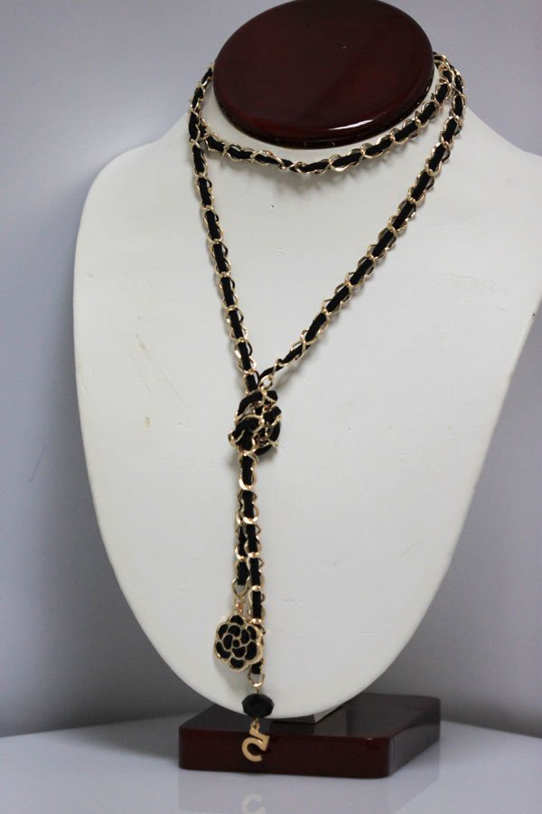 CHANEL STYLE BLACK LEATHER  LONG NECKLACE