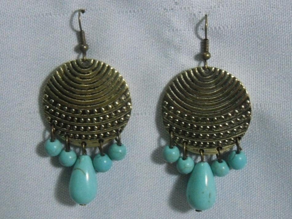 CYMBALS BLUETURQUOISE DANGLING EARRINGS STONE BLUE TUR