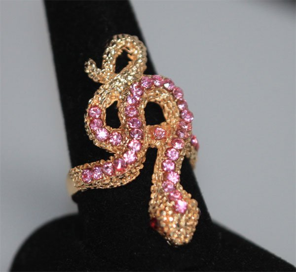 FASHION JEWELRY PINK AND RED CZ SNAKE BRASS RING