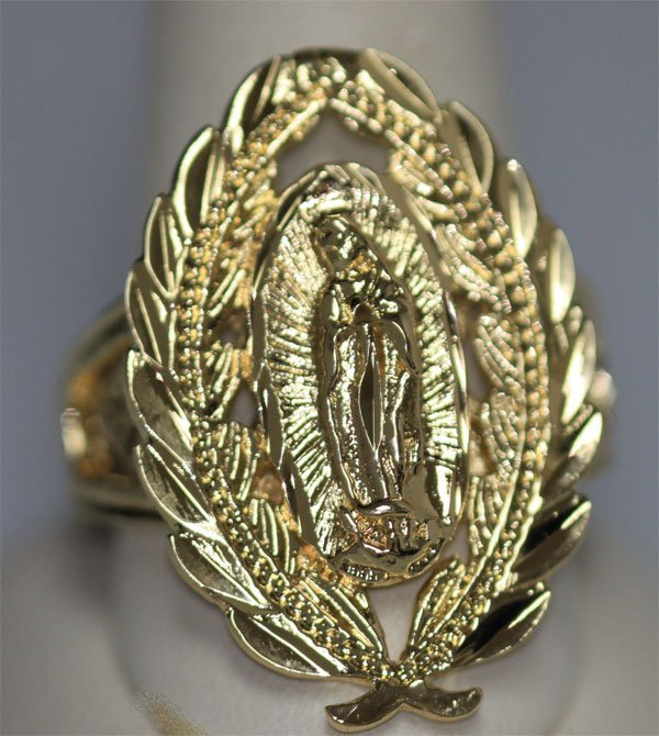VIRGIN MARY 14K GOLD PLATED RING