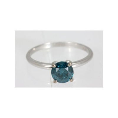 Genuine 3.00 ctw Blue Diamond Solitaire Ring 14kt