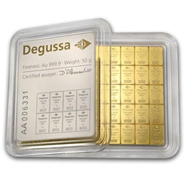 50x 1 gram Gold Degussa CombiBar (In Assay)