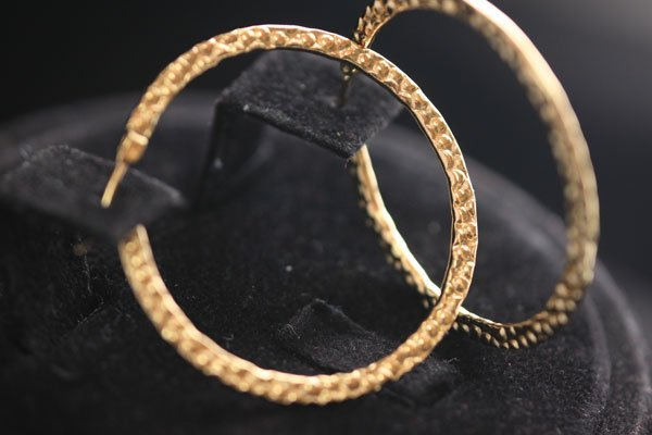 GOLD PLATED FLAT HOOP EARRING