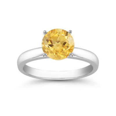 Genuine 1.25 ctw Citrine Solitaire Ring 14kt Gold-White