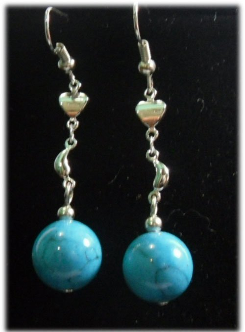 BLUE TURQUOISE SILVER DANGLING EARRINGS;METAL-SILVER