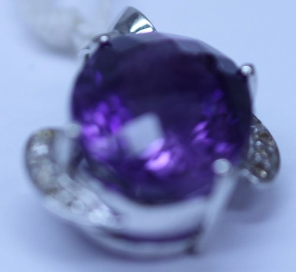 25.15 CTW AMETHYST AND DIAMOND PENDANT .925 STERLING SI