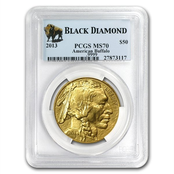 1 oz Gold Buffalo MS-70 PCGS Black Diamond (date of our