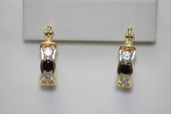 18K GOLD PLATED BLACK AND WHITE CZ EARRINGS