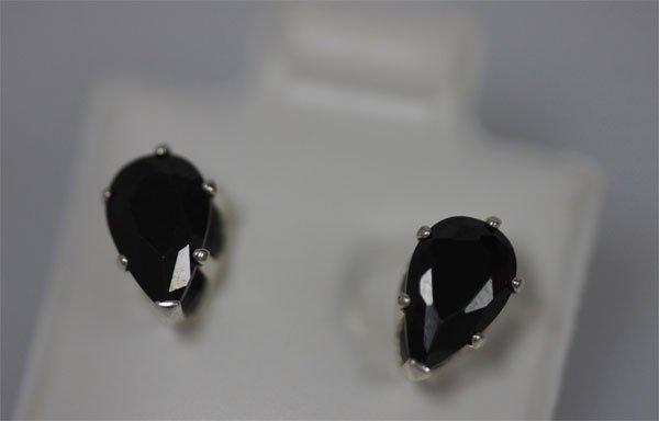 PEAR BLACK CZ STUD EARRINGS .925 STERLING SILVER
