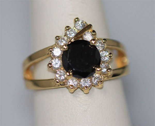 BLACK ROUND CZ AND 14K GOLD PLATED RING