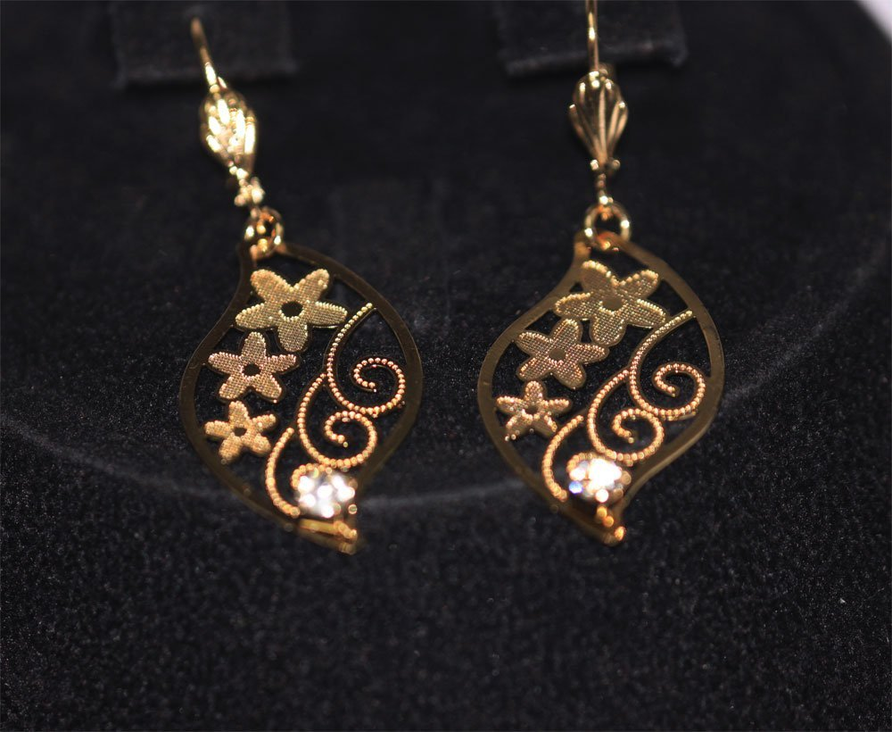 14K GOLD PLATED CZ CLEAR DANGLING FLOWER EARRINGS