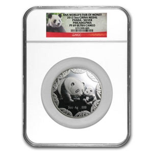 2012 5 oz Silver Panda Philadelphia ANA Show Medal NGC