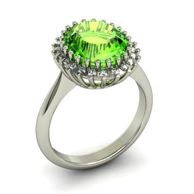Periodt 4.22 ctw & Diamond Ring 14kt W/Y Gold