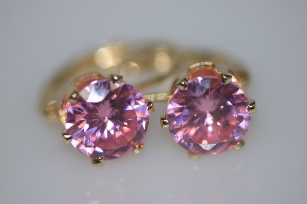 14K GOLD PLATED CZ PINK EARRINGS
