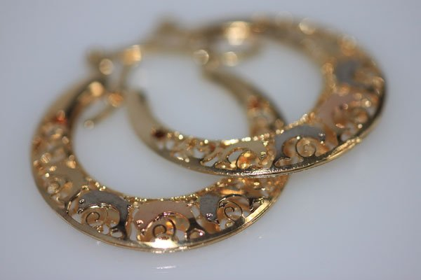 14K GOLD PLATED TRI-COLOR DOLPHIN HOOP EARRINGS