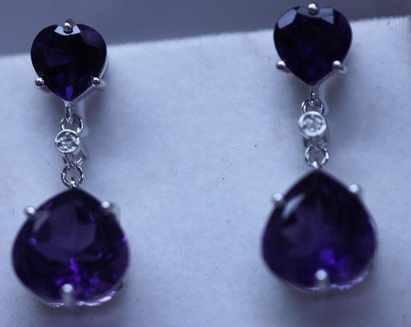 32.60 CTW AMETHYST AND DIAMOND EARRINGS .925 STERLING S