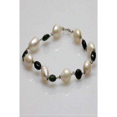 Natural 42.35ct Emerald,Pearl Bracelet .925 Sterling