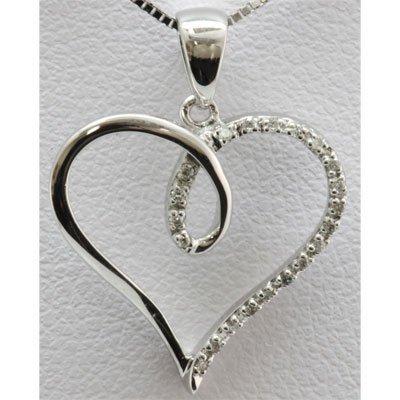 Genuine 0.06 ctw Diamond Heart Pendant 14k W Gold