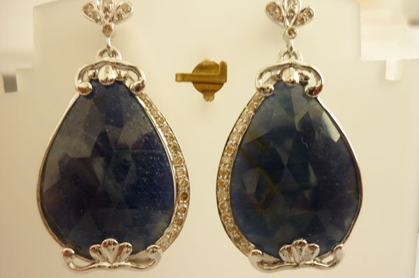 128.7 CTW SAPPHIRE AND DIAMOND EARRINGS .925 STERLING S